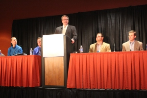 """U.S. Farmers and Ranchers Alliance Exective Director Randy Krotz introduced four of the subjects of the new documentary """"Farmland"""" during a Commodity Classic press conference."""