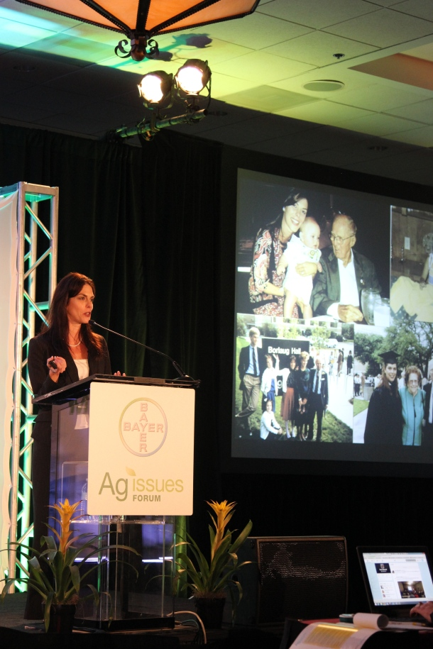 Julie Borlaug, associate director for external relations for the Norman Borlaug Institute for International Agriculture speaks about the future of technology at the Bayer CropScience Ag Issues Forum. (Journal photo by Jennifer M. Latzke.)