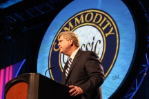 U.S. Secretary of Agriculture Tom Vilsack speaks at the General Session of the 2014 Commodity Classic Feb. 28, in San Antonio, Texas. Vilsack told the audience of corn, soybean, wheat and sorghum growers that implementation of the recently passed farm bill is coming along. (Journal photo by Jennifer M. Latzke.)